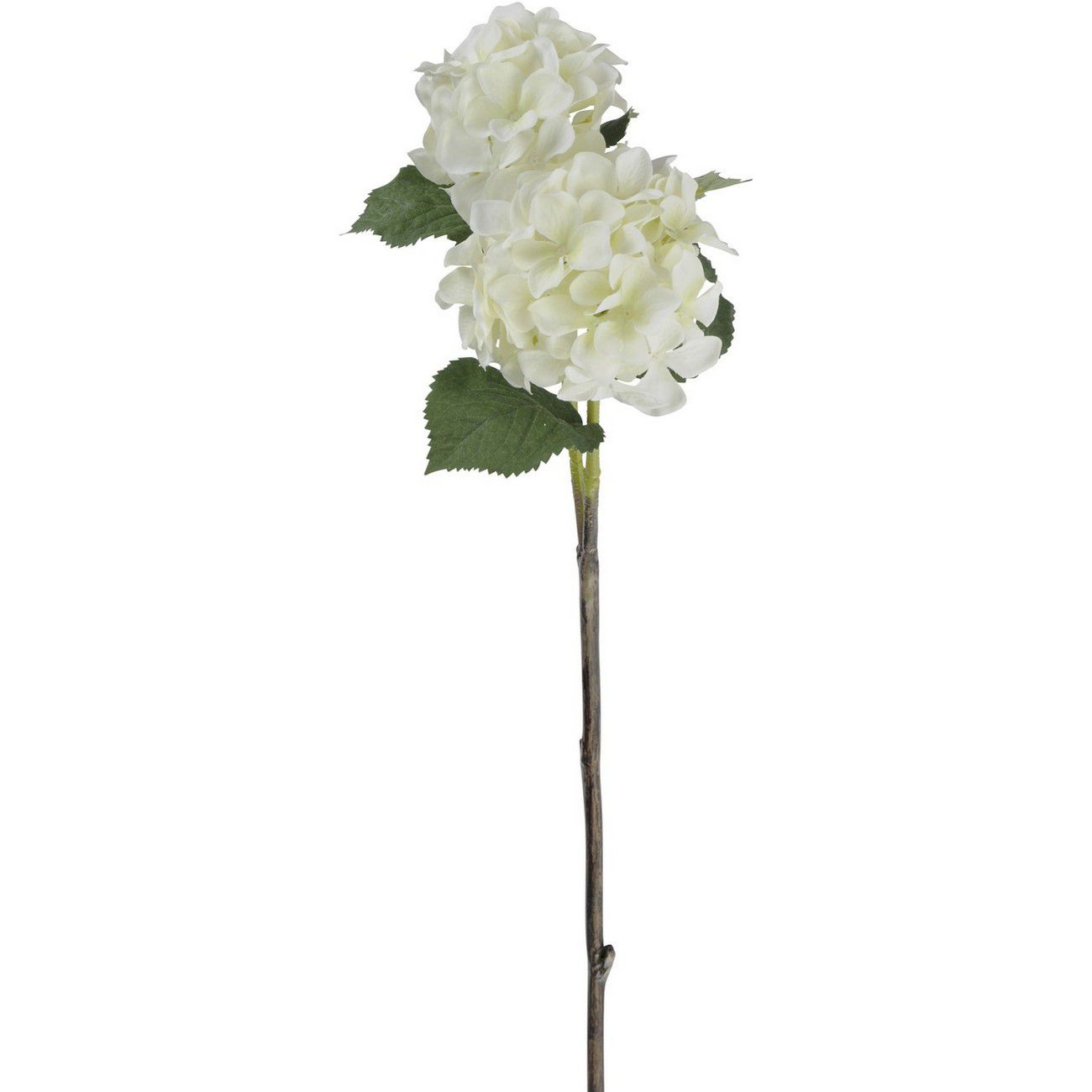 Faux White Hydrangea With Leaves 71cm thumbnail