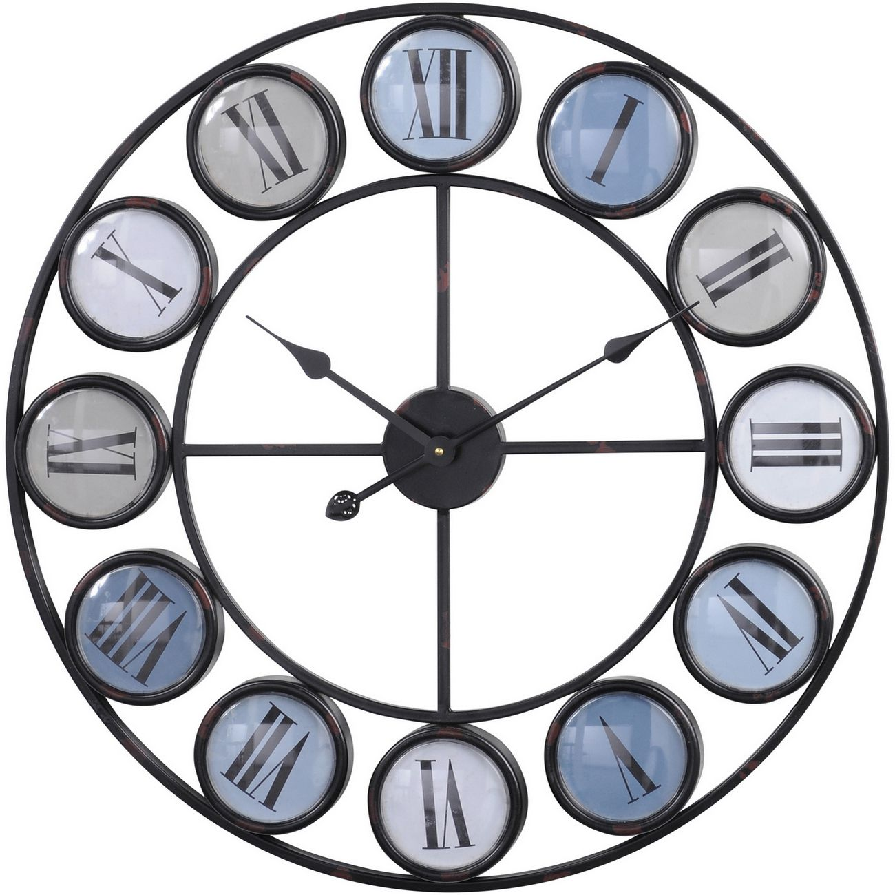 Blue Smarty Iron Clock With Roman Numerals thumbnail