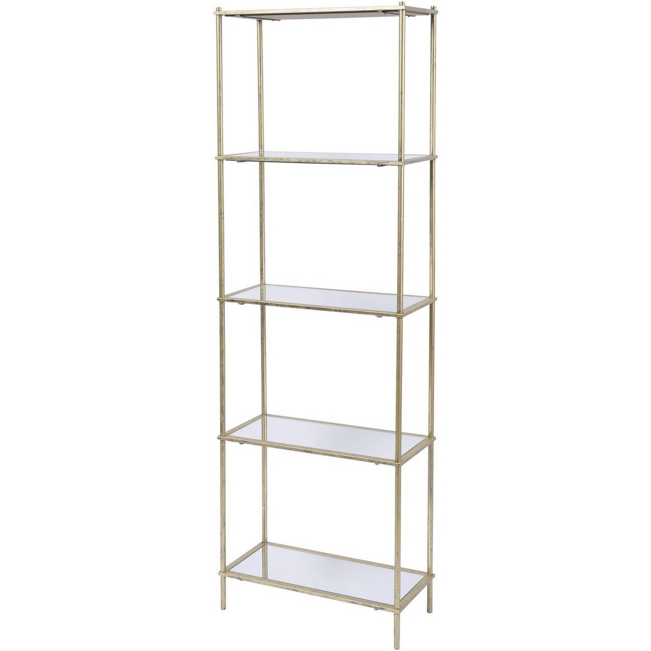 Mylas Five Tier Shelving Unit With Mirrored Panels thumbnail