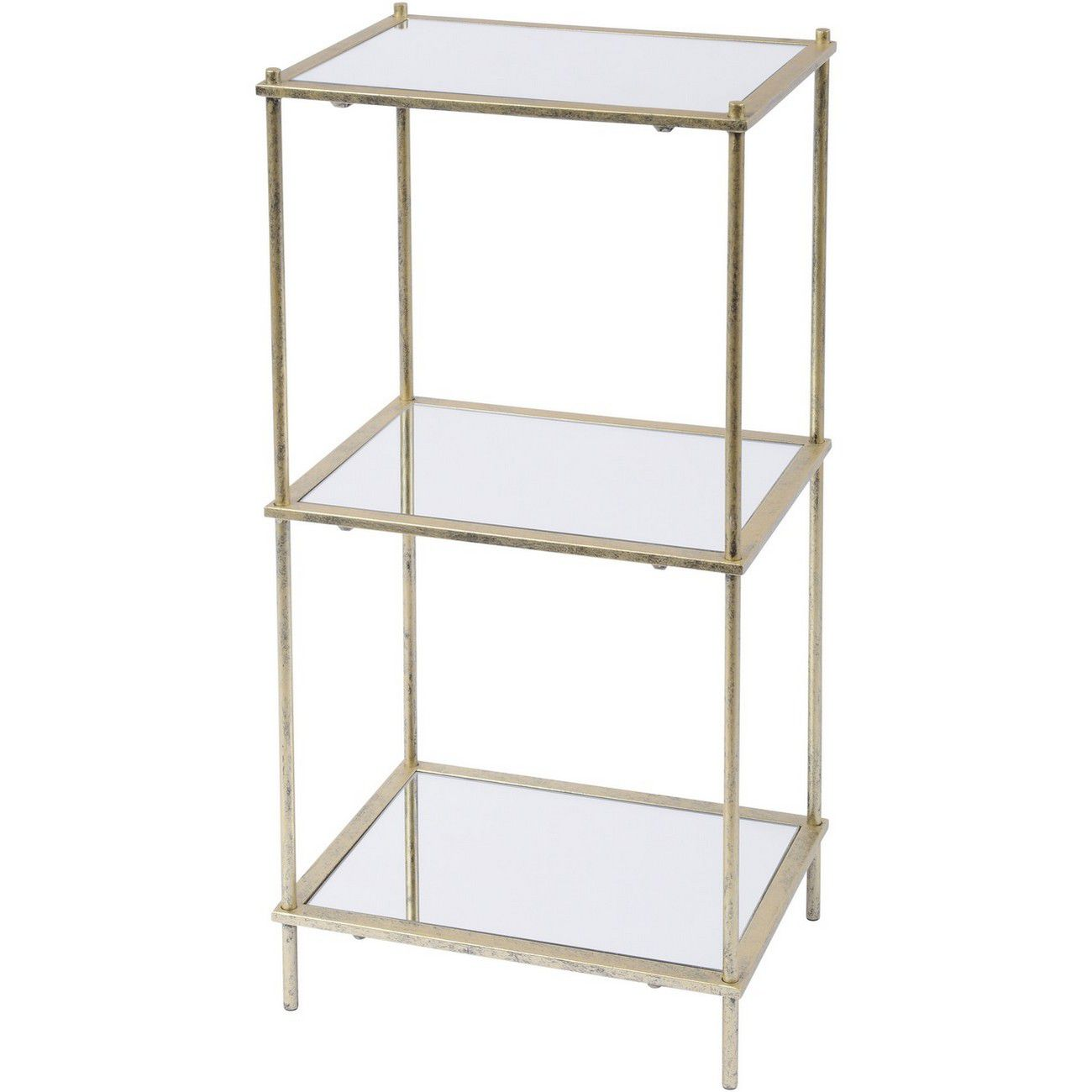 Mylas Three Tier Shelving Unit With Mirrored Panels thumbnail