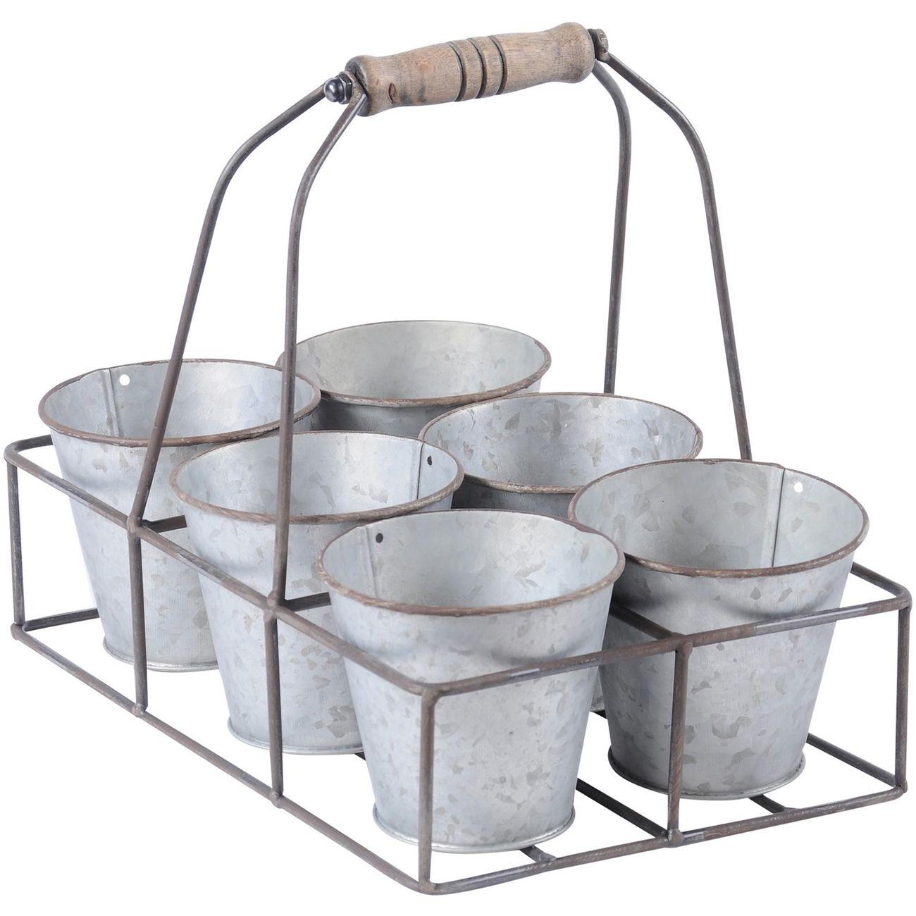 Set Of 6 Zinc Finish Pots In Holder thumbnail