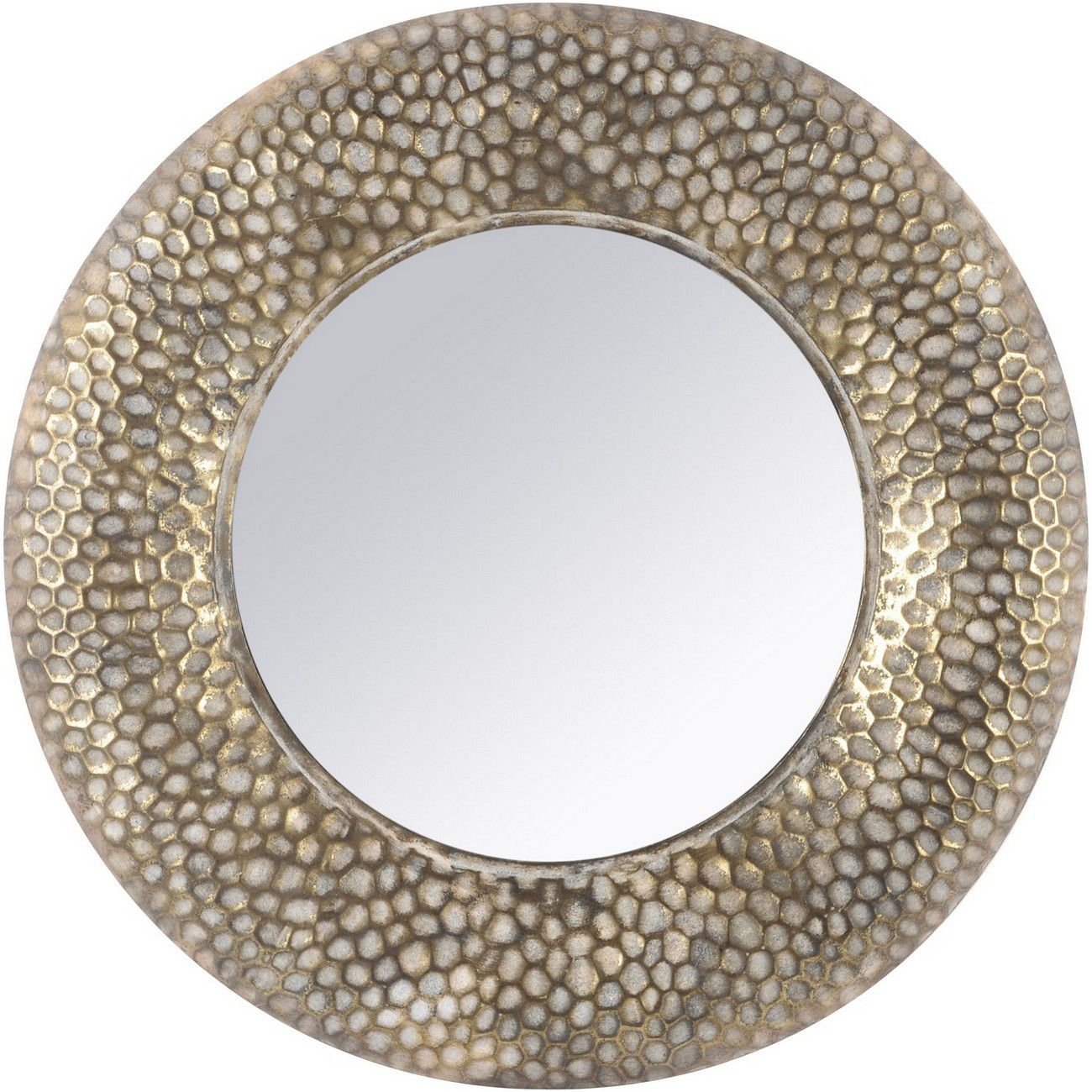 Antique Gold Round Honeycomb Mirror thumbnail