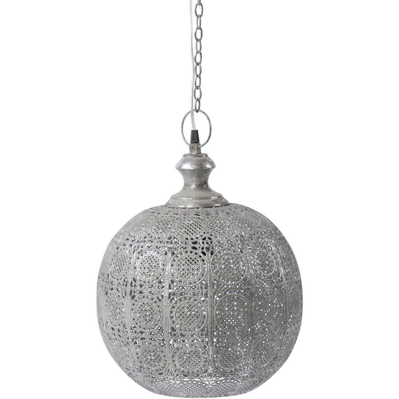 Moura Antique Silver Round Pendant Light E27 60W thumbnail