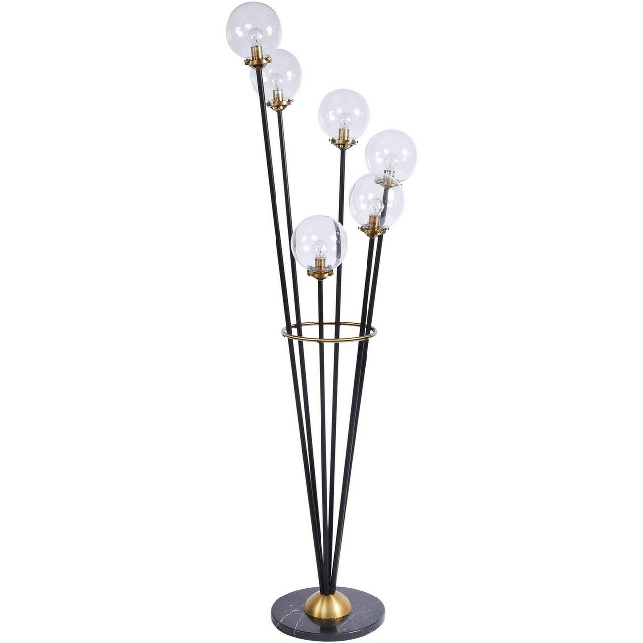 Mercer Black and Brass Glass Bubble Floor Lamp thumbnail