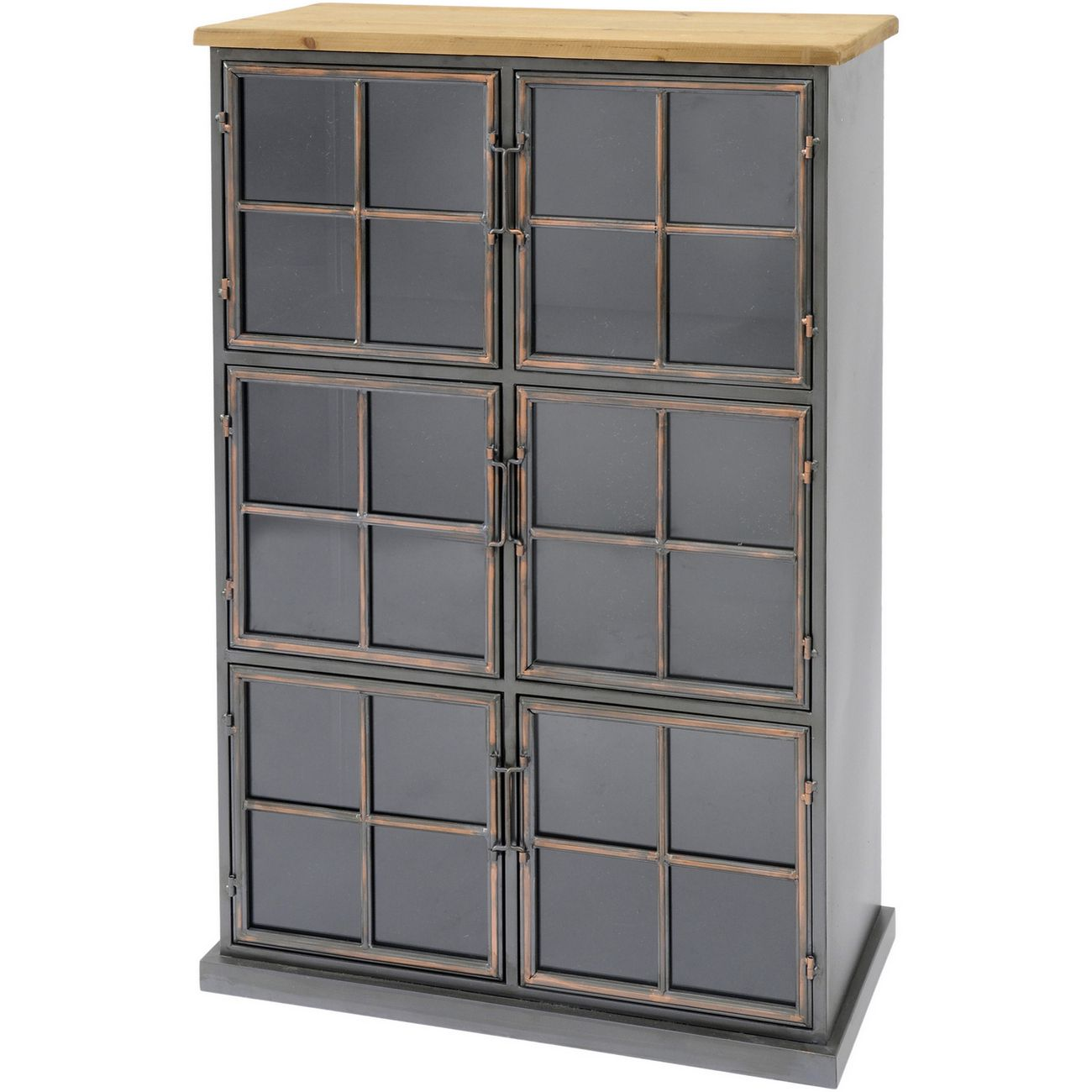 Moresby 6 Door Wood And Iron Cabinet thumbnail
