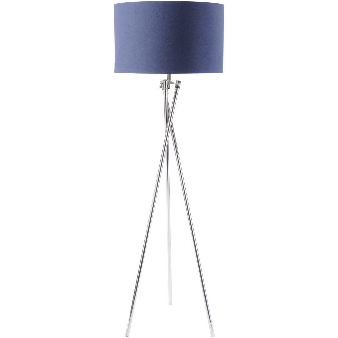 Nickel Twist Tripod Floor Lamp With Navy Shade E27 40W thumbnail