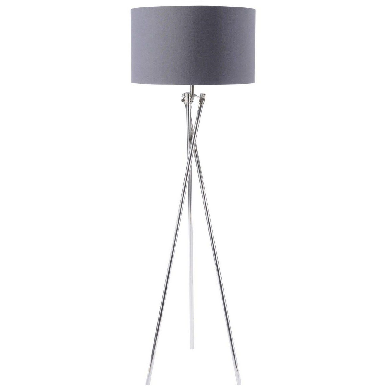Nickel Twist Tripod Floor Lamp With Grey Shade E27 40W thumbnail