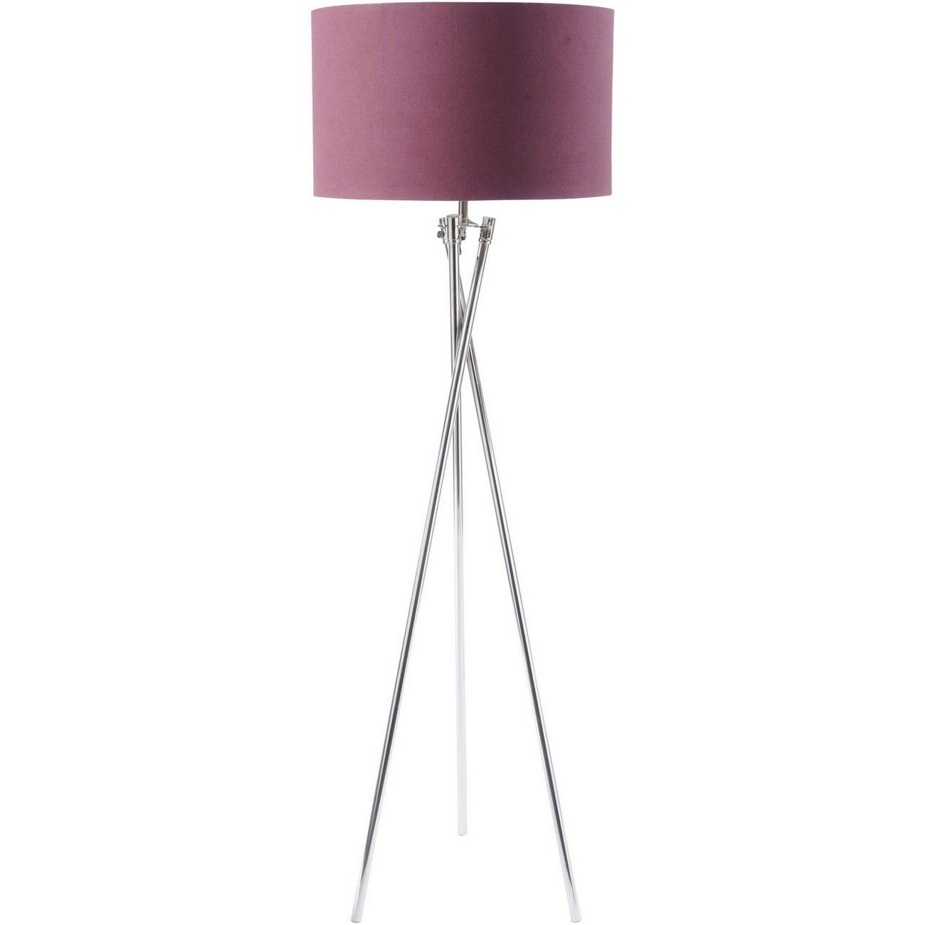 Nickel Twist Tripod Floor Lamp With Burgundy Shade E27 40W thumbnail
