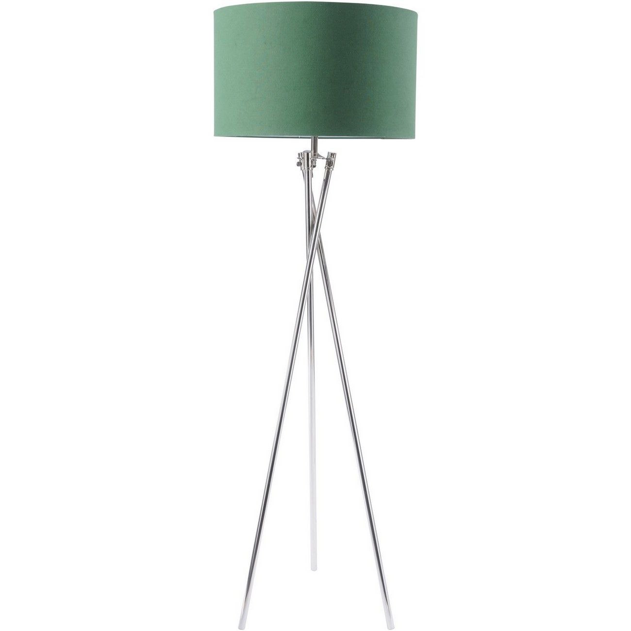 Nickel Twist Tripod Floor Lamp With Green Shade E27 40W thumbnail