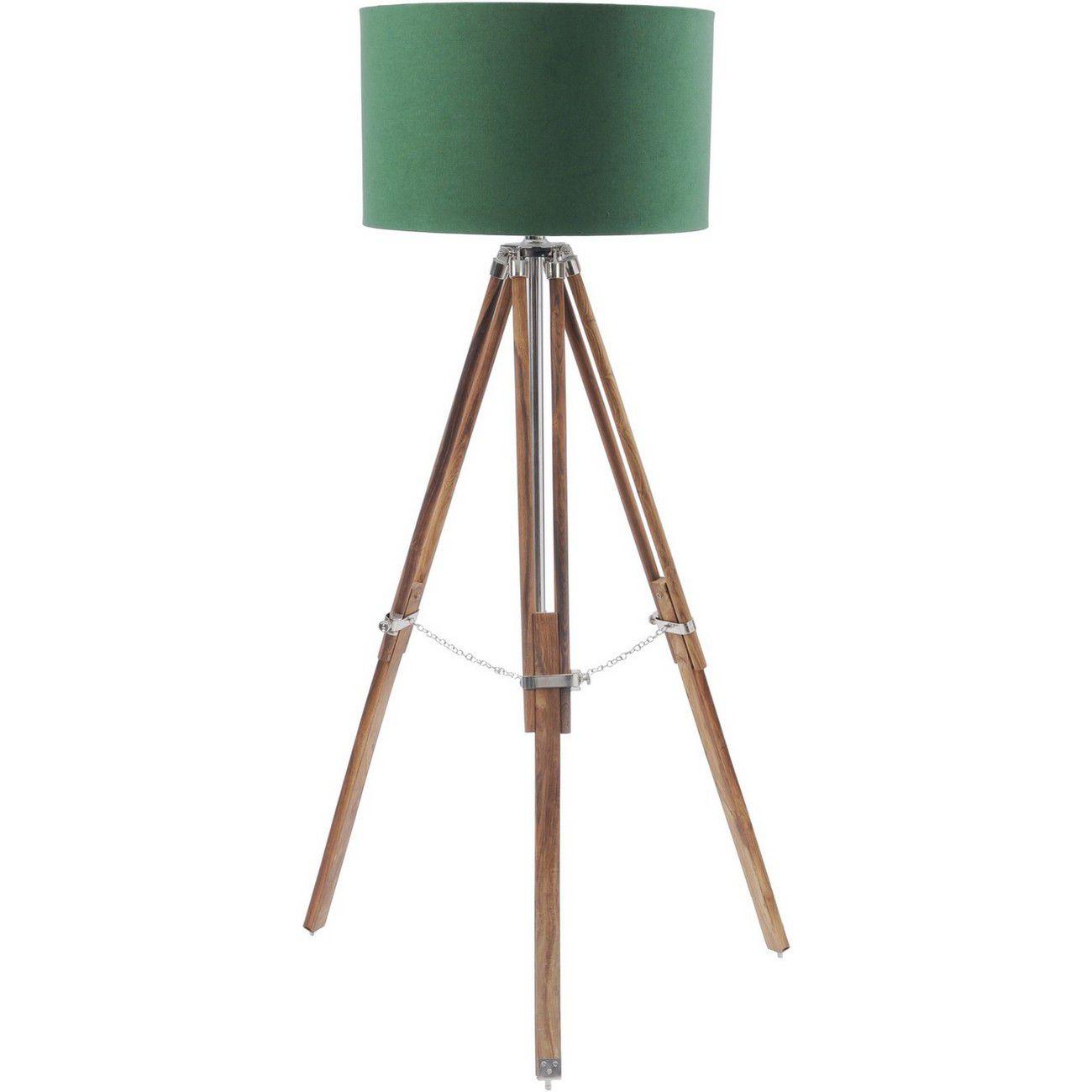 Rowley Natural Wood Tripod With Green Drum Shade E27 40W thumbnail