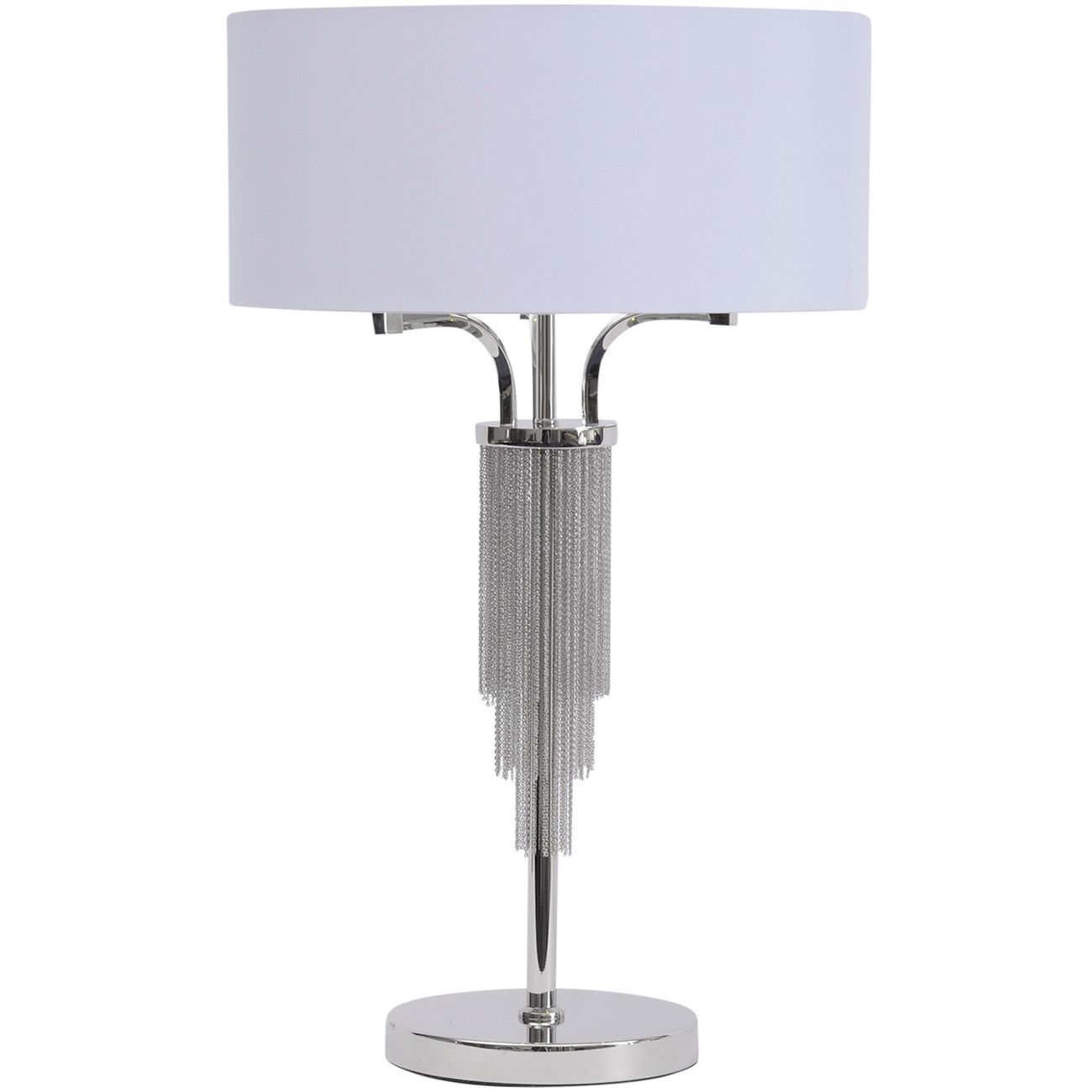 Langan Table Lamp In Nickel With White Shade E27 60W thumbnail