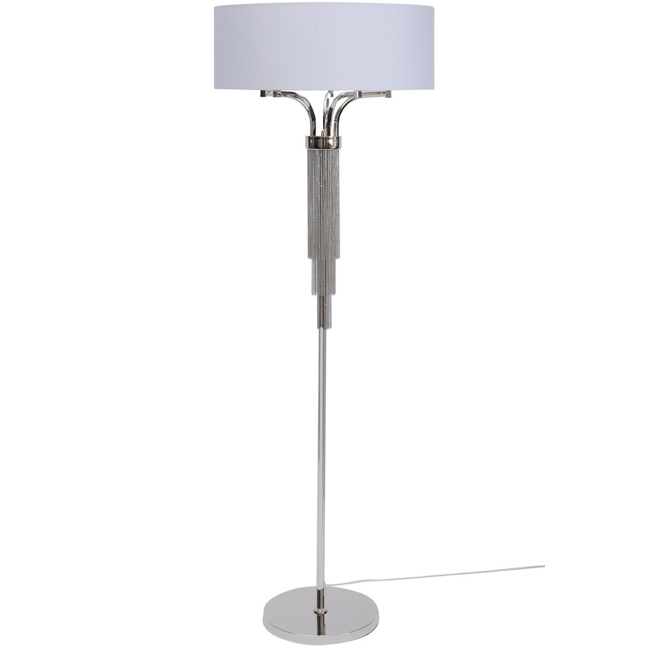 Langan Floor Lamp In Nickel With White Shade E14 40W thumbnail