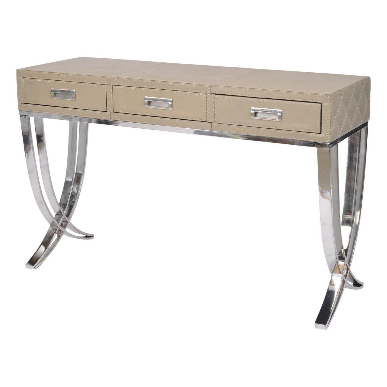 Ecclestone Leather Three Drawer Console Table thumbnail