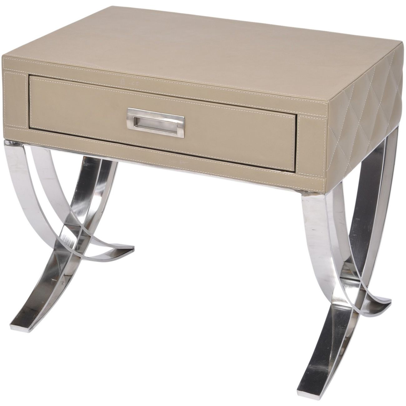 Ecclestone Leather One Drawer Side Table thumbnail