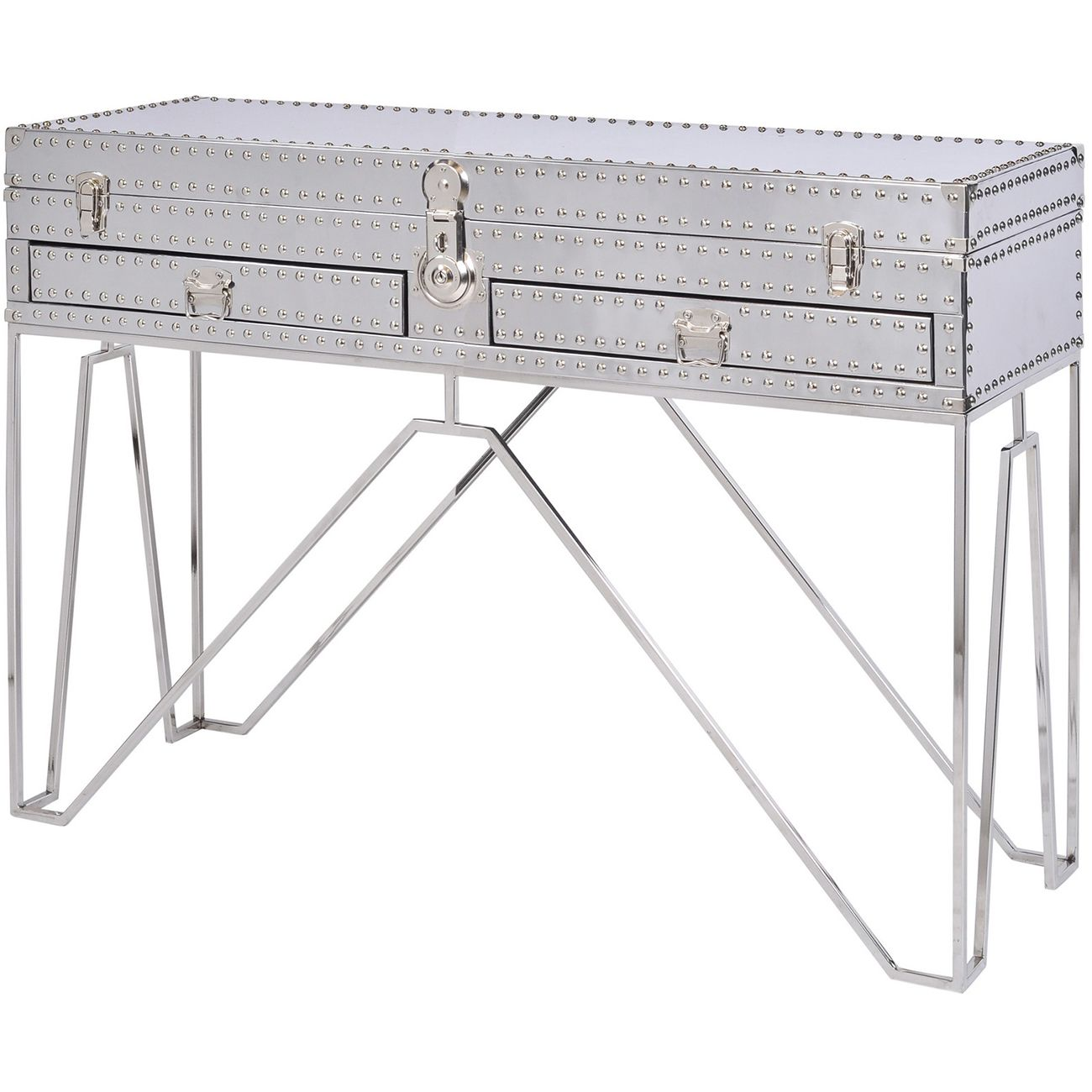 Duke Polished Silver Steel Two Drawer Console Table thumbnail