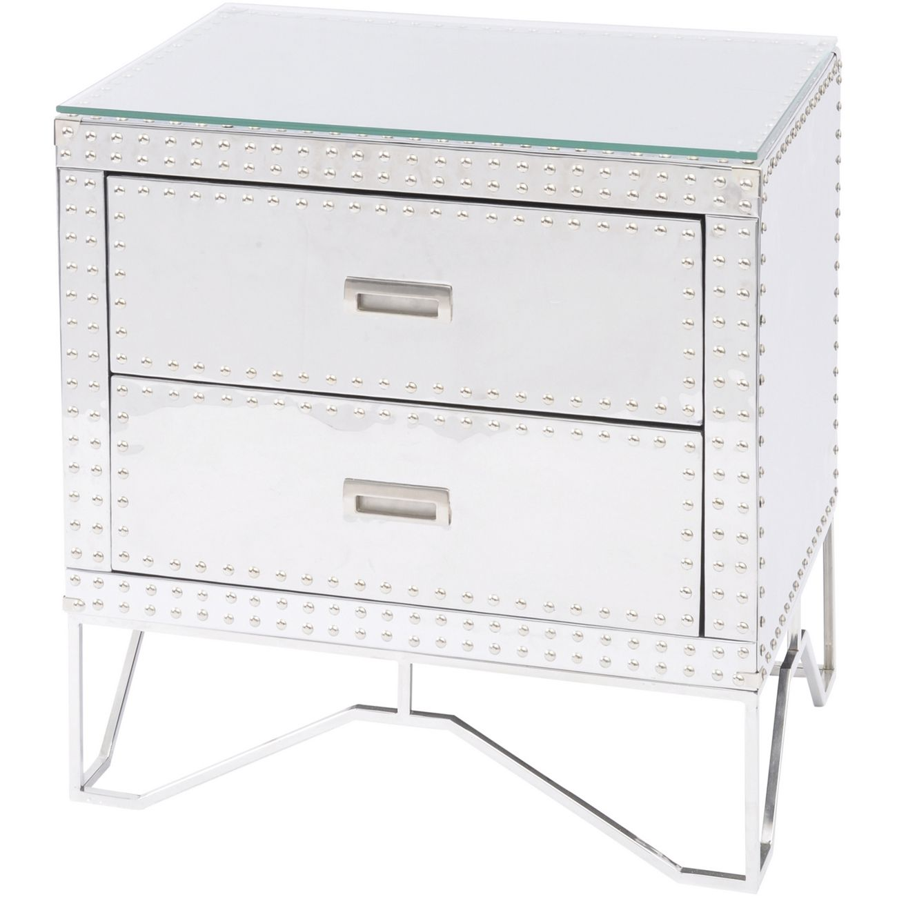 Duke Polished Silver Steel Two Drawer Side Table thumbnail
