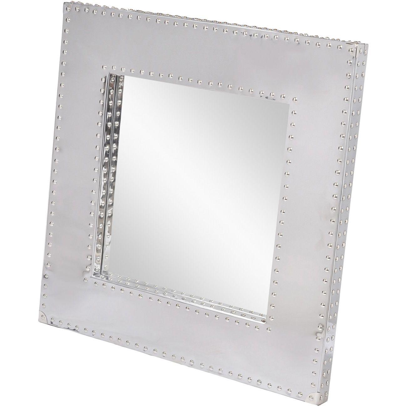 Duke Polished Silver Steel Square Mirror thumbnail