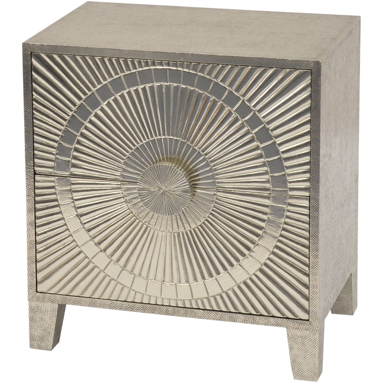 Coco Silver Embossed Metal 2 Drawer Bedside Table thumbnail