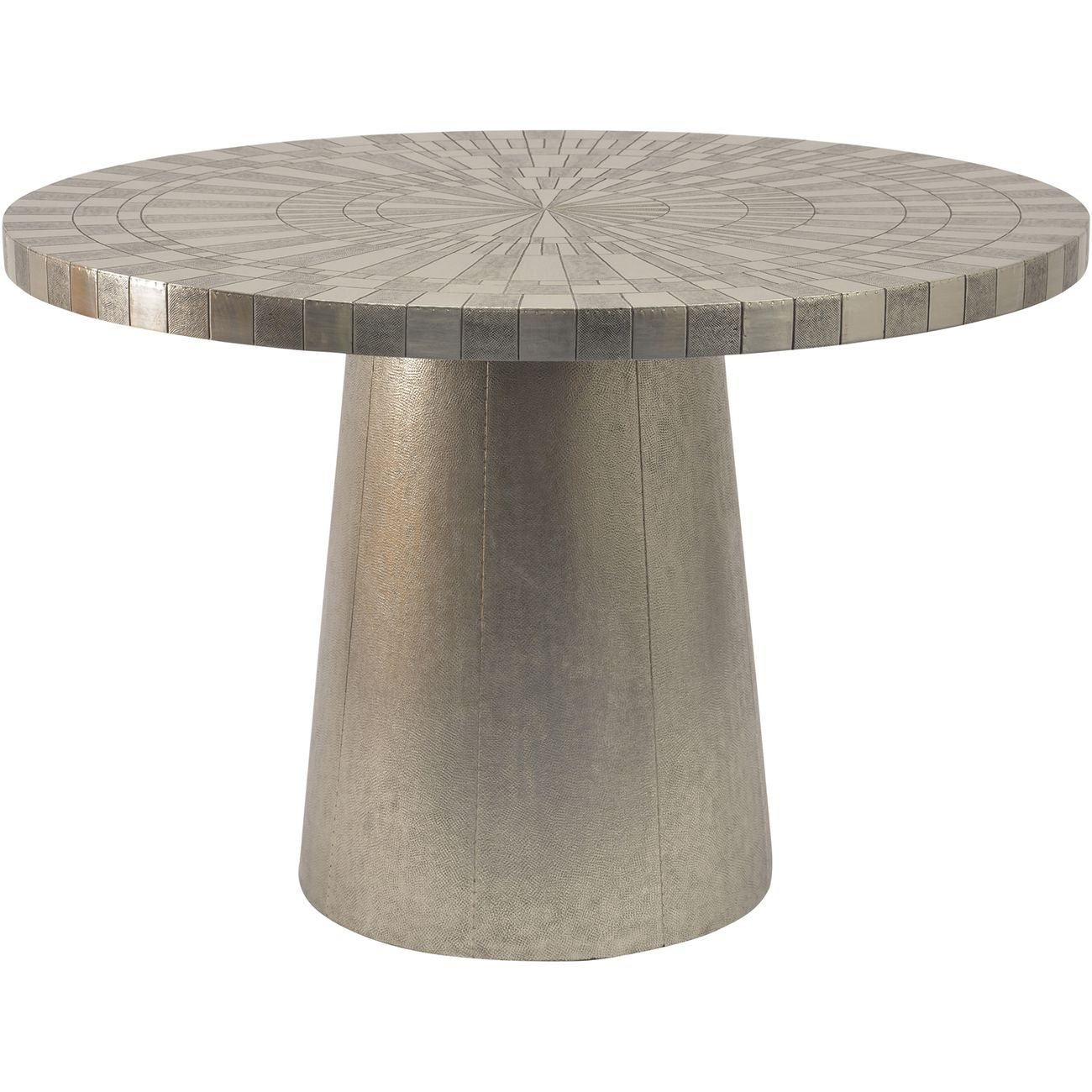 Coco Silver Embossed Metal 4 Seater Round Dining Table thumbnail