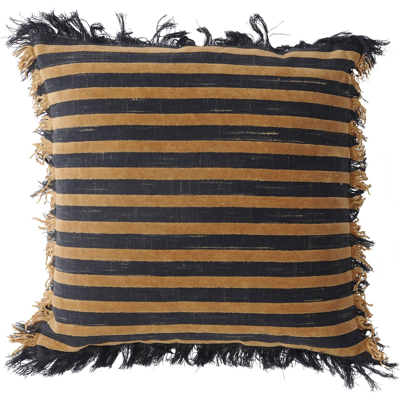 Chenille Stripe Beige And Charcoal Cushion 45x45cm thumbnail