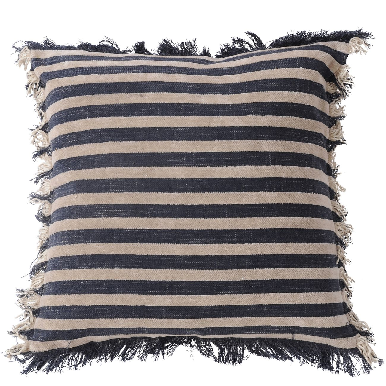 Chenille Stripe Brown And Charcoal Cushion 45x45cm thumbnail