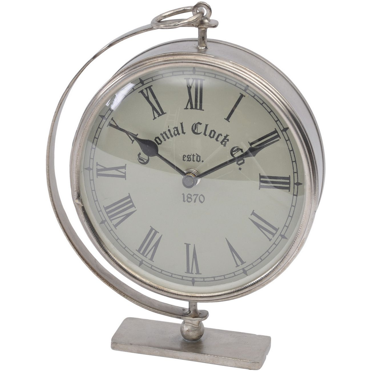 Namala Antique Nickel Iron Mantel Clock thumbnail