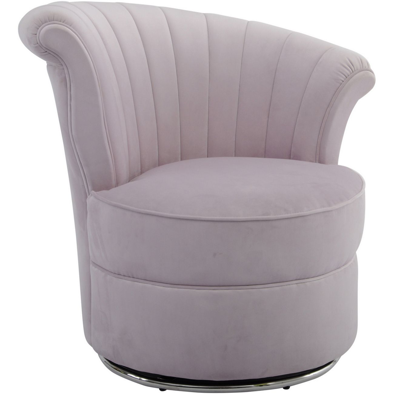 Gatsby Curved Pink Velvet Occasional Swivel Chair thumbnail