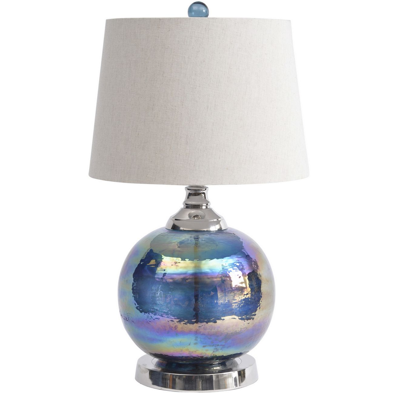 Iridescent Blue Green Sphere Table Lamp With Bleached Linen Shade E27 60W 1 thumbnail