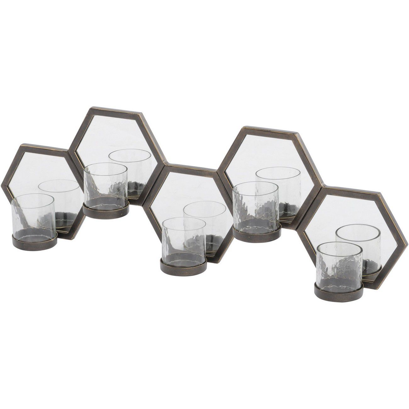 Hexagonal Dark Bronze 5 Light Mirrored Wall Sconce thumbnail