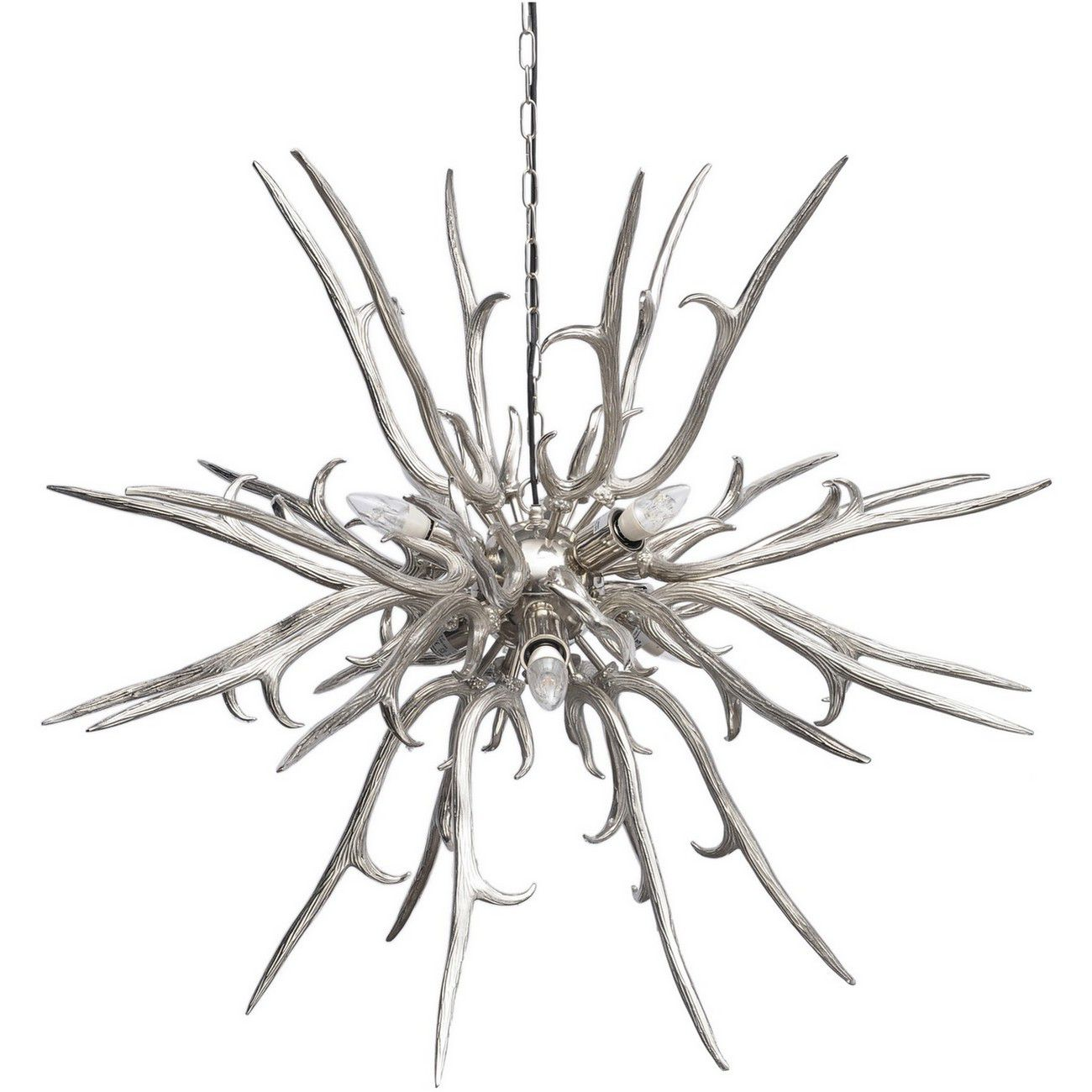 Hunter Polished Silver Antler Chandelier E27 40W 6 thumbnail