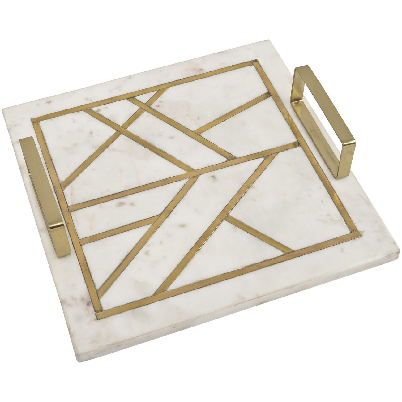 Amara Square Marble Tray With Brass Metal Inlay thumbnail