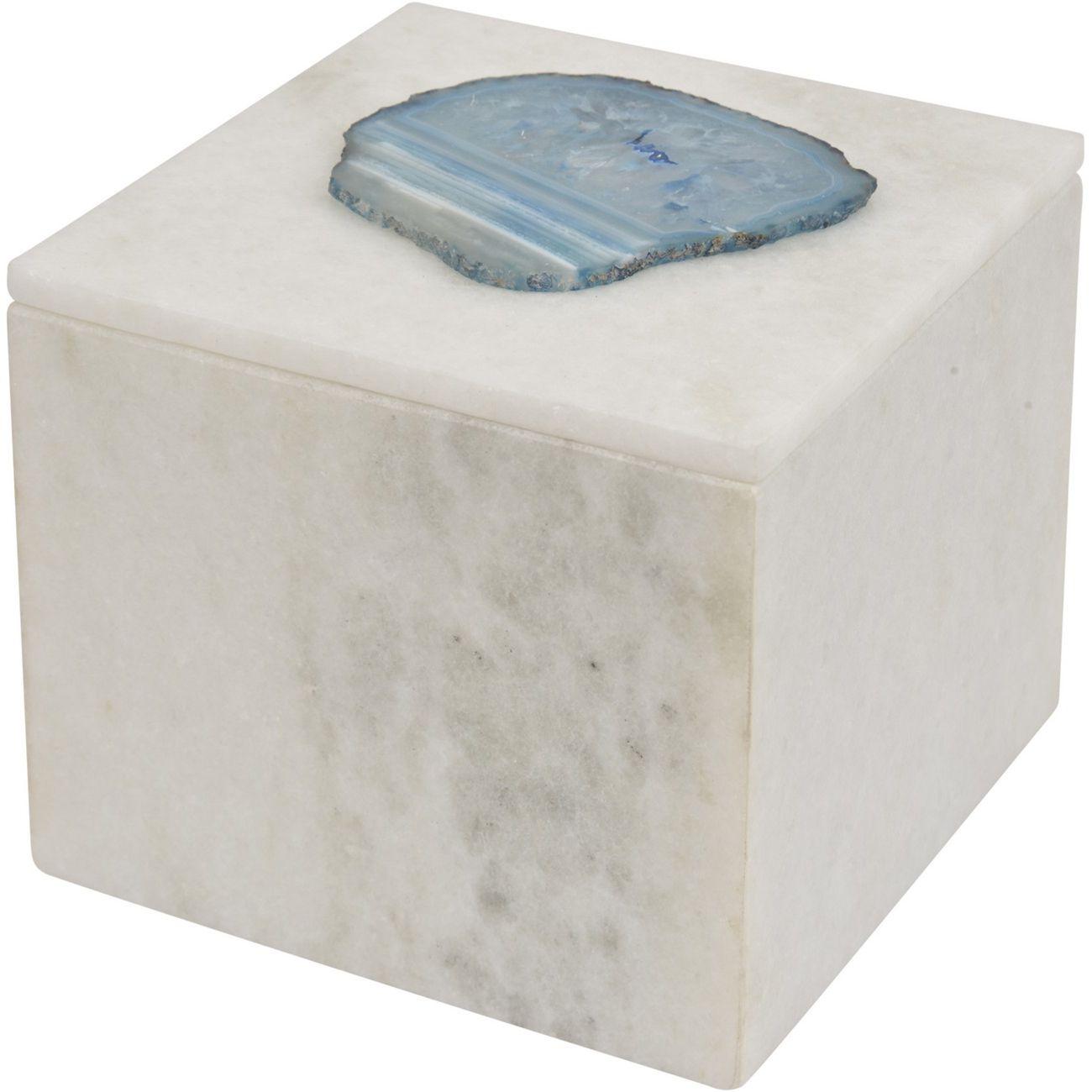 Mayfair Blue Agate & White Marble Decorative Square Box thumbnail