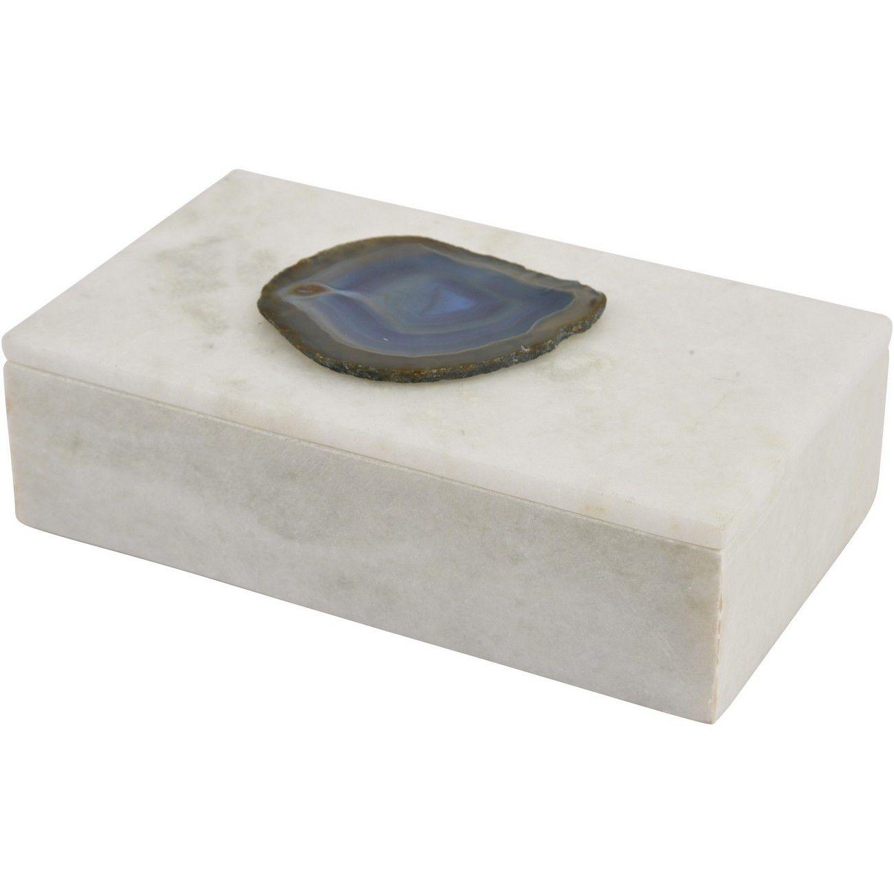 Mayfair Blue Agate & White Marble Decorative Rectangular Box thumbnail