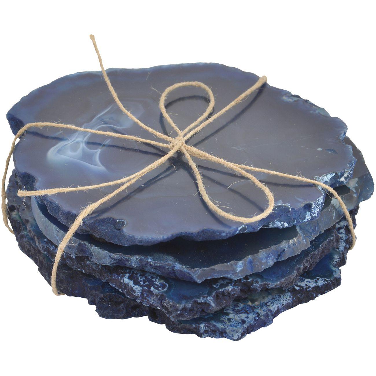 Mayfair Blue Agate Set Of 4 Coasters thumbnail