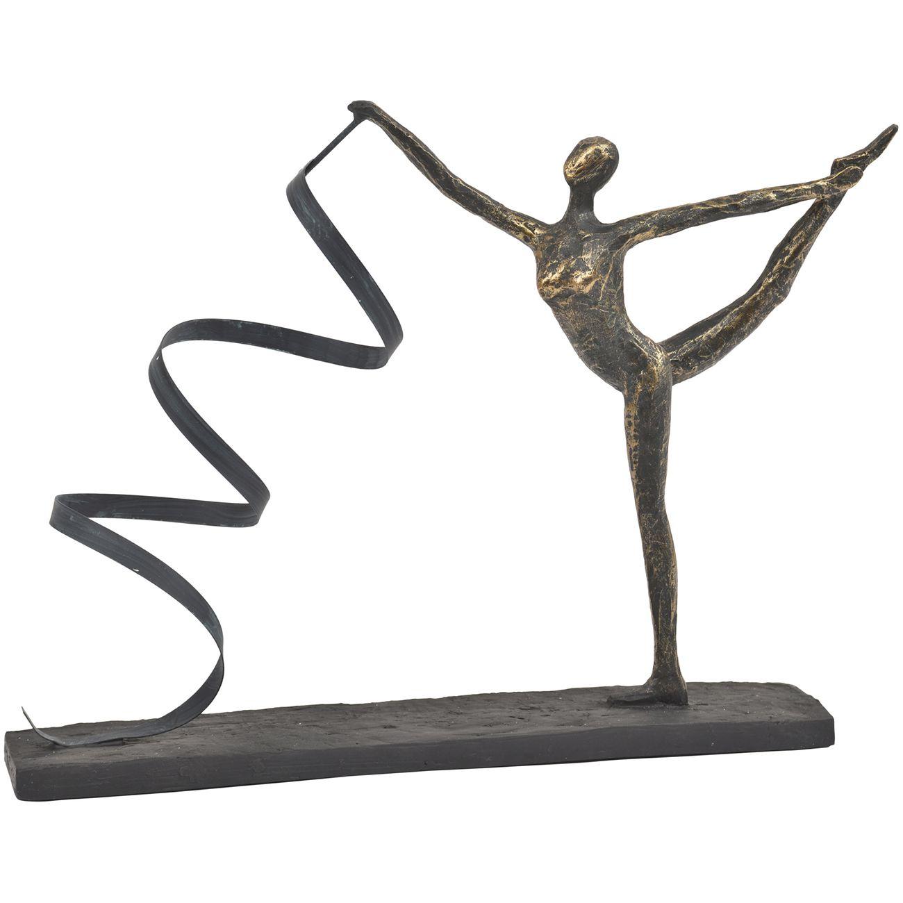 Antique Bronze Wavy Ribbon Dancer Sculpture thumbnail
