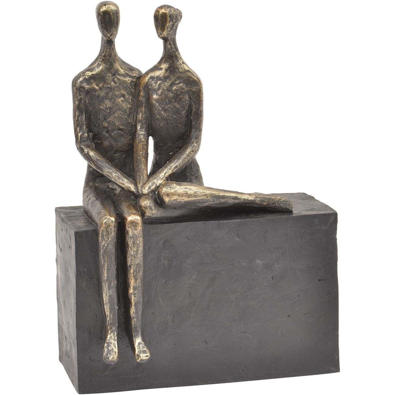 Antique Bronze Couple On Block Sculpture thumbnail