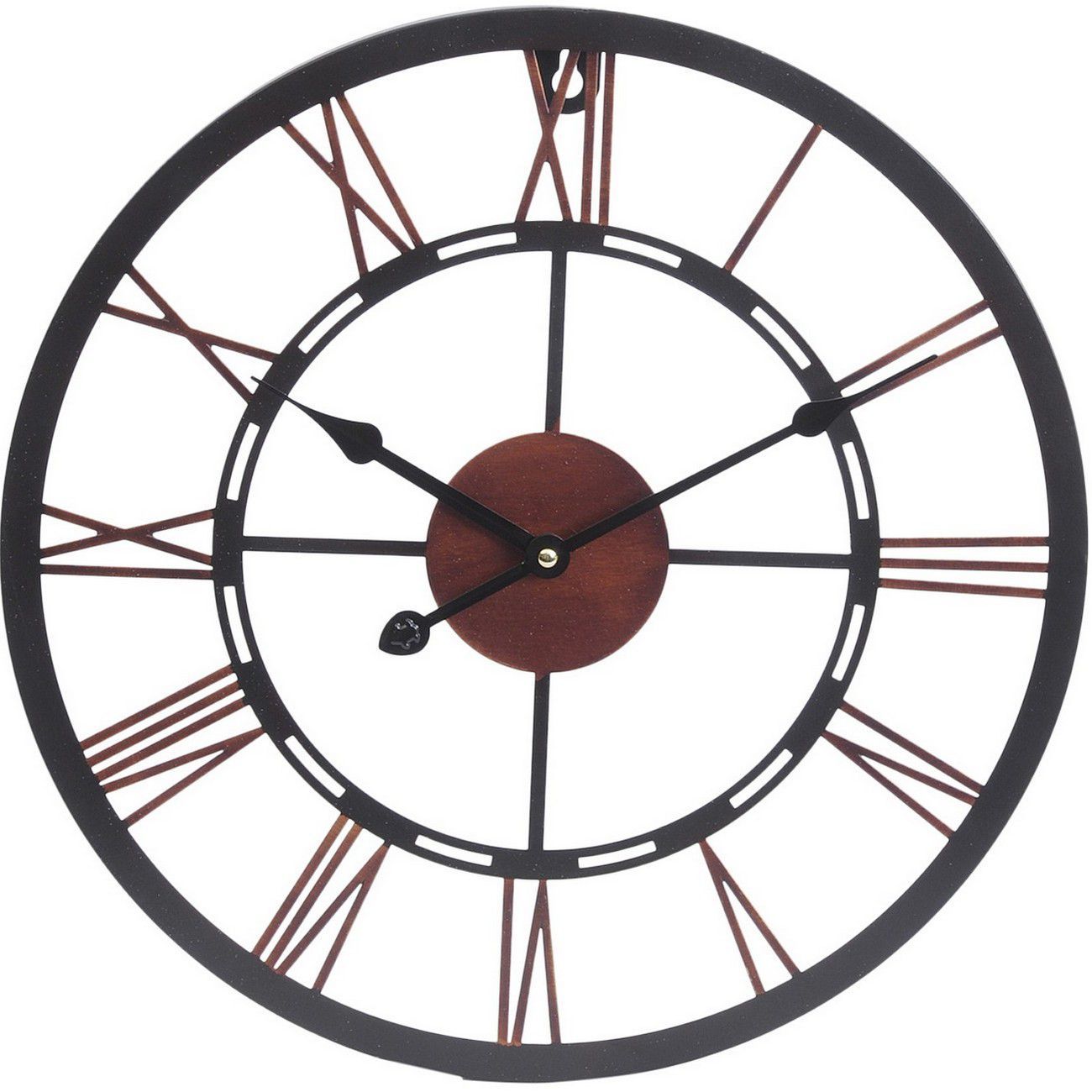 Small Metal Black & Copper Skeletal Wall Clock thumbnail
