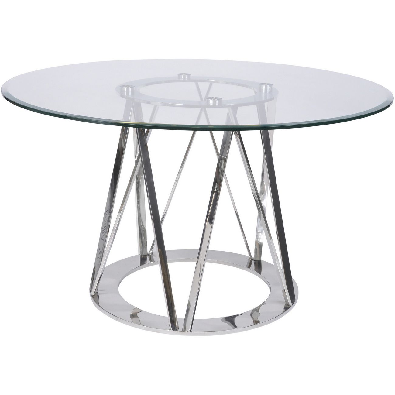 Linton Stainless Steel & Glass 4 Seater Round Dining Table thumbnail
