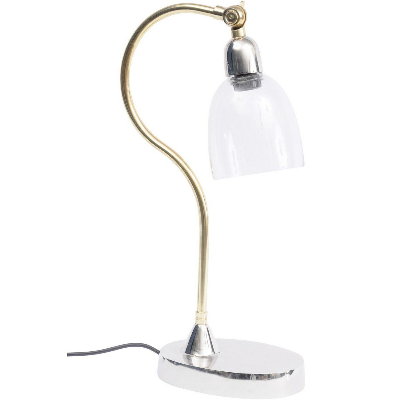 Enza Nickel And Glass Curved Desk Lamp E27 25W 1 thumbnail