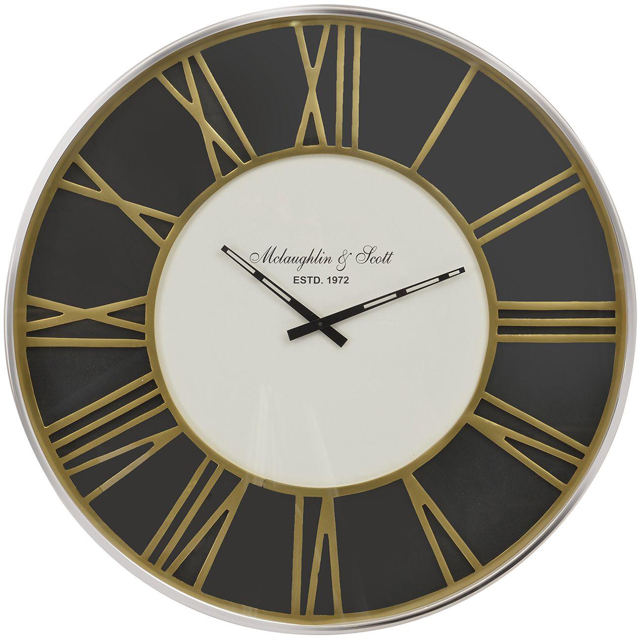 Brass & Black Skeletal Wall Clock thumbnail