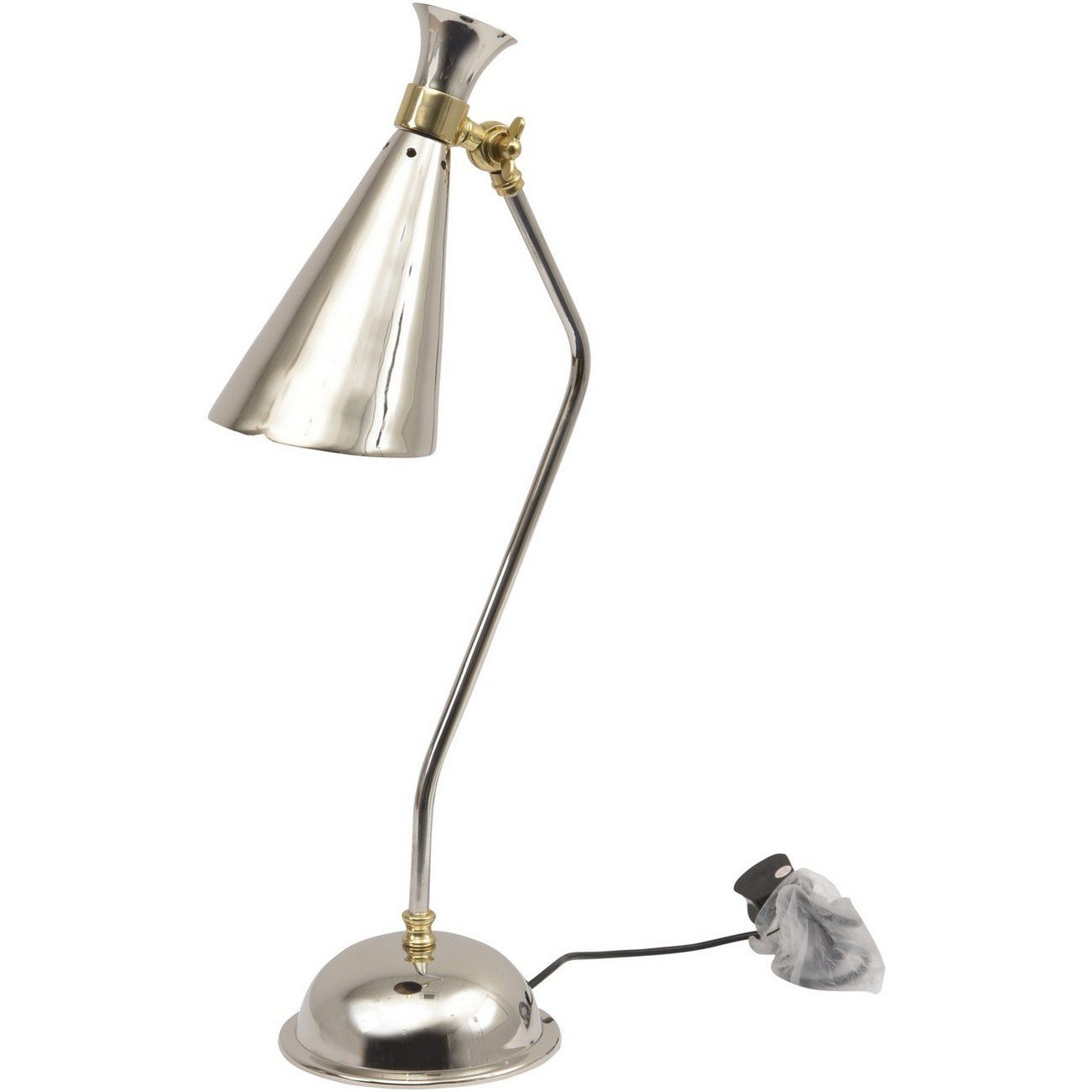 Enza Nickel And Brass Conical Desk Lamp E27 25W 1 thumbnail