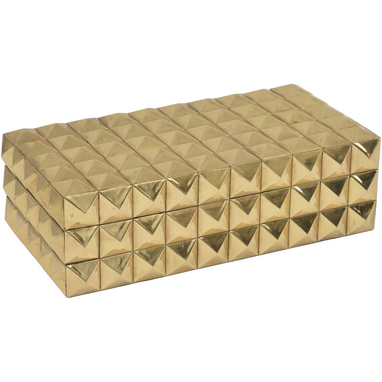 Gold Large Metal Studded Box with Lid thumbnail