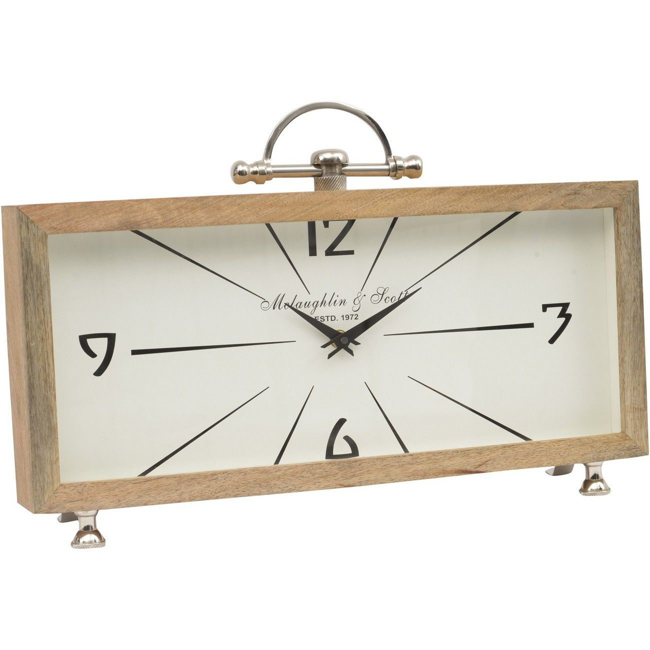 Mango Wood Rectangular Table Clock thumbnail