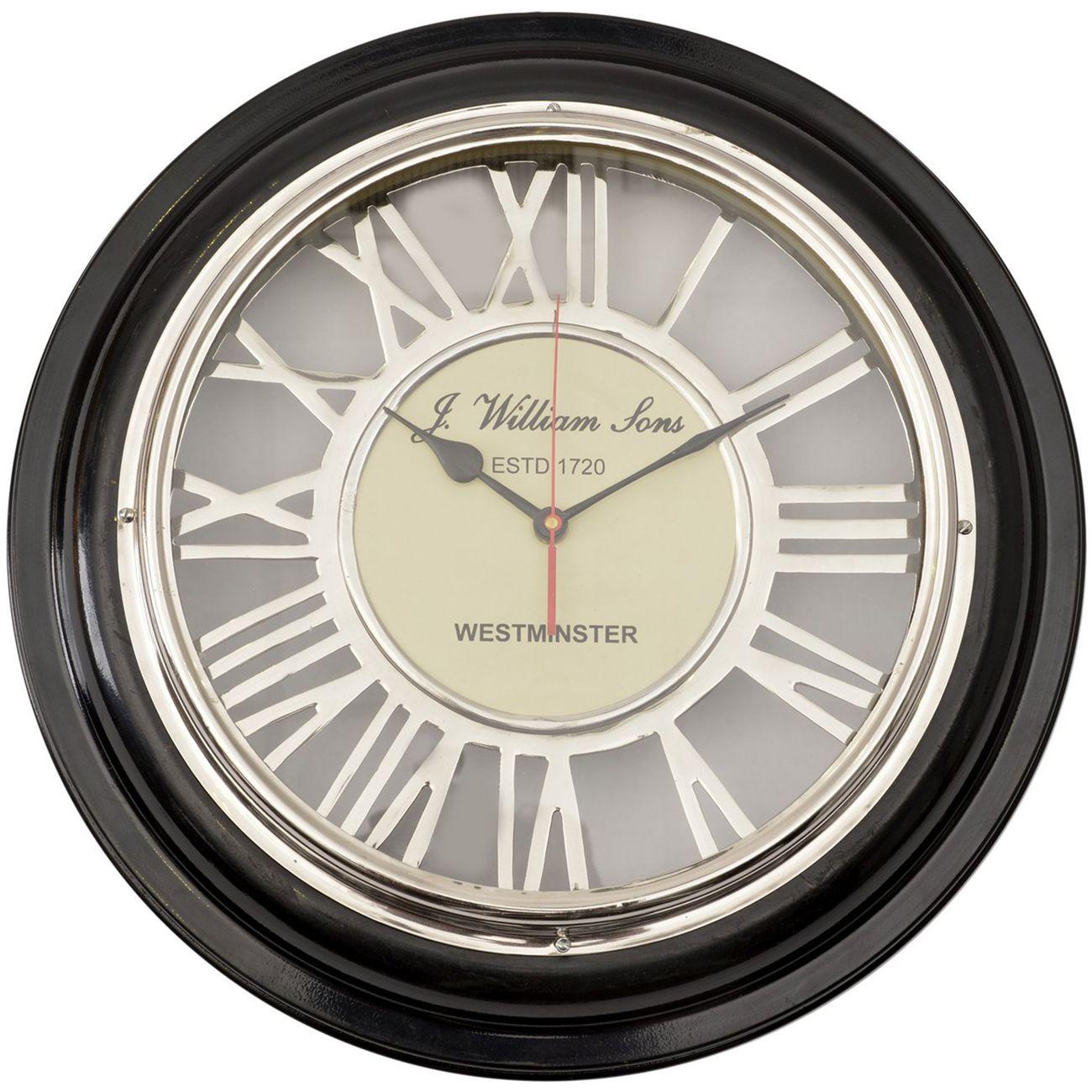 Harwood Black And Nickel Round Wall Clock thumbnail