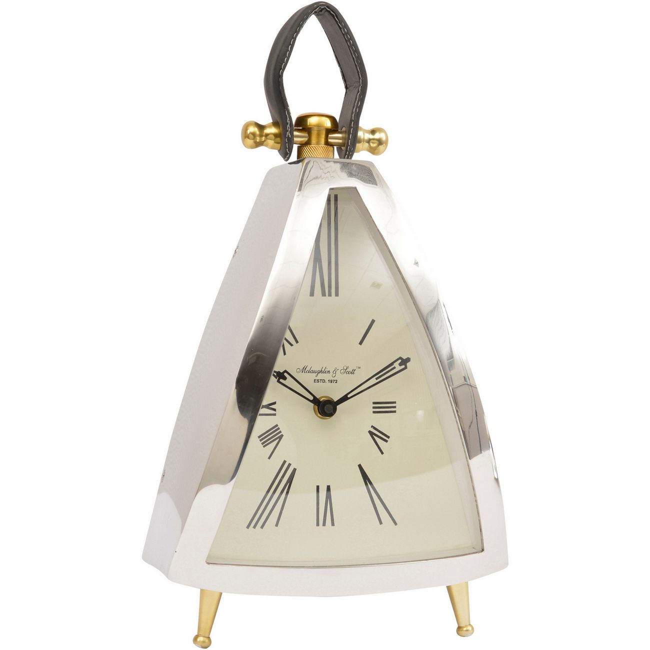 Isosceles Curved Front Mantel Clock With Leather Handle thumbnail