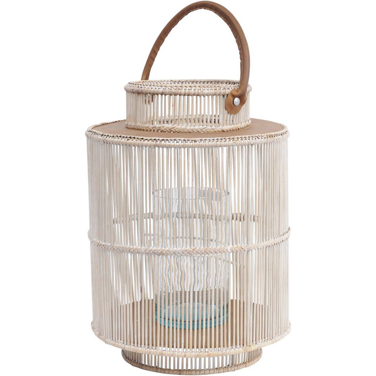 Seminyak Whitewash Round Rattan & Bamboo Lantern With Leather Handle thumbnail