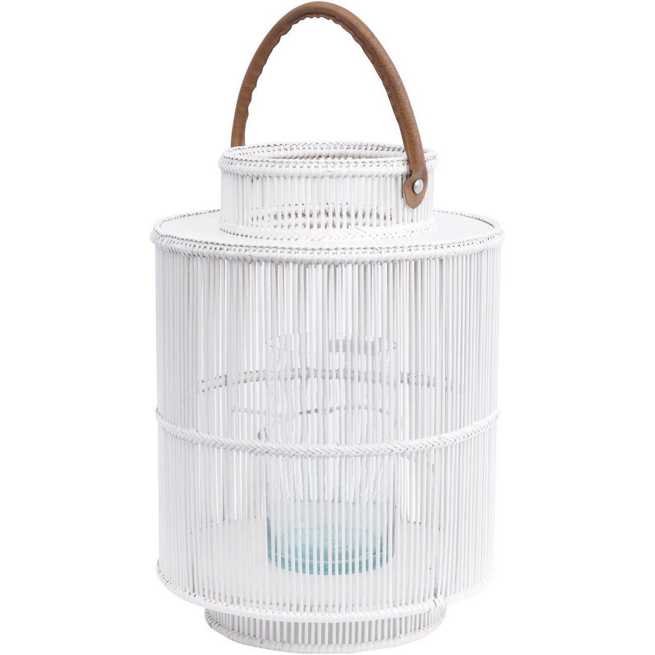 Seminyak White Round Rattan & Bamboo Lantern With Leather Handle thumbnail
