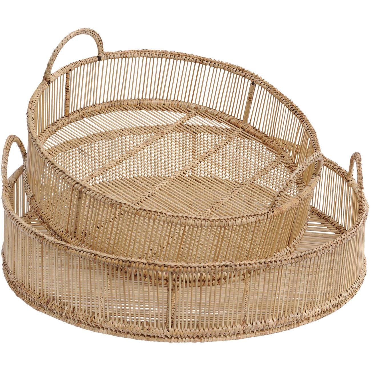 Seminyak Set Of 2 Natural Rattan & Bamboo Round Trays thumbnail