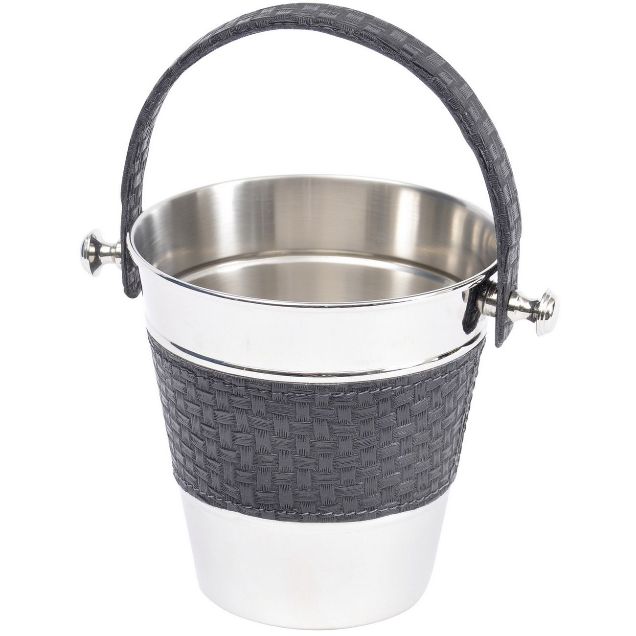 Benton Black Leather Ice Bucket With Handle thumbnail