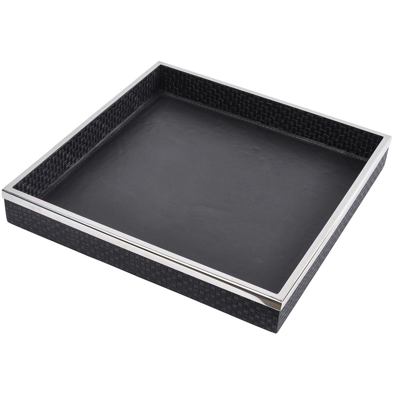 Benton Black Leather Square Tray thumbnail